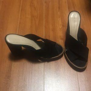 Saks fifth avenue black sueded block heels